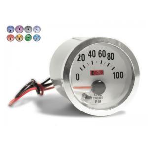 Objednávací kód: 24113  Palubný prístroj merač tlaku oleja - rozsah 0-100 PSI mantážny priemer 52 mm - 7 farebné podsvietenie celého merača